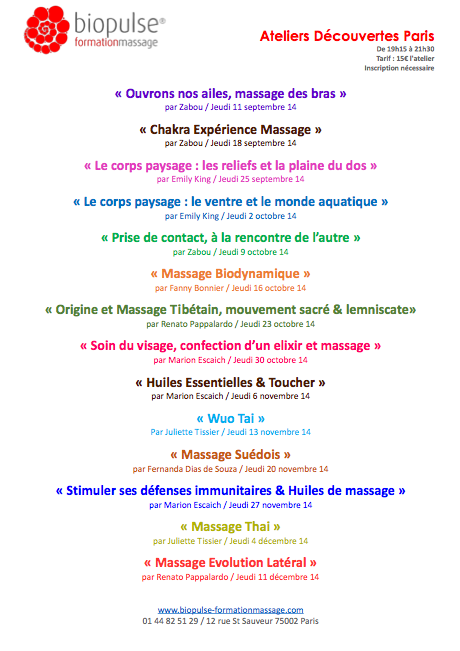Ateliers découverte des massages, Sept-Dec 2014 @Biopulse, Paris